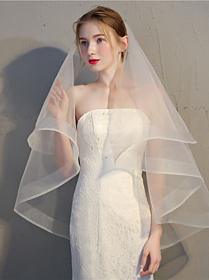 cheap Prom Dresses-Two-tier Vintage / Classic & Timeless Wedding Veil Fingertip Veils with Solid 35.43 in (90cm) Tulle / Oval