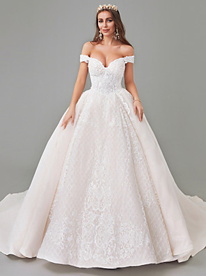cheap Wedding Dresses-A-Line Wedding Dresses Off Shoulder Court Train Lace Tulle Strapless See-Through with Pattern / Print Appliques 2020