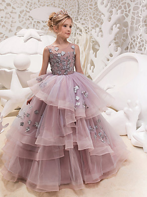 cheap Girls' Dresses-Princess Maxi Party / Birthday / Pageant Flower Girl Dresses - Lace / Organza / Tulle Sleeveless Jewel Neck with Lace / Appliques