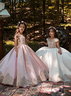 cheap Flower Girl Dresses-Ball Gown Sweep / Brush Train Wedding / Birthday / Pageant Flower Girl Dresses - Lace / Satin Chiffon Cap Sleeve Jewel Neck with Acrylic / Appliques
