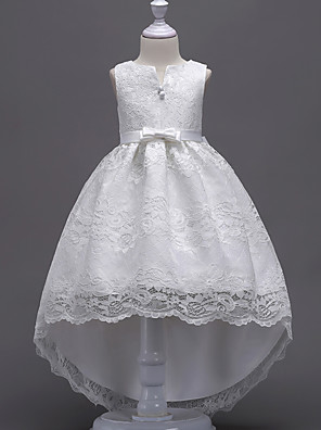 cheap Flower Girl Dresses-Princess Midi / Asymmetrical Wedding / First Communion / Birthday Flower Girl Dresses - Lace Sleeveless V Wire with Lace / Bow(s) / Embroidery