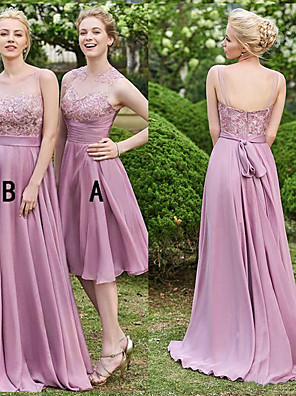 cheap Bridesmaid Dresses-A-Line Illusion Neck Sweep / Brush Train Chiffon / Lace Bridesmaid Dress with Lace