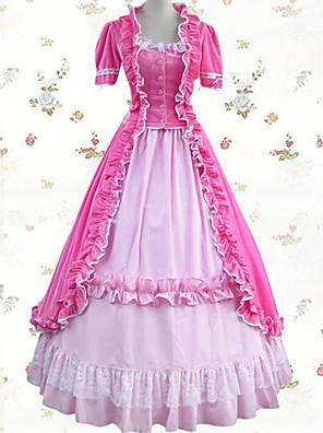 cheap Lolita Dresses-Vintage Princess Lolita Rococo Dress Cosplay Costume Female Japanese Cosplay Costumes Blue / Pink / Ink Blue Patchwork Short Sleeve Maxi Long Length / Victorian