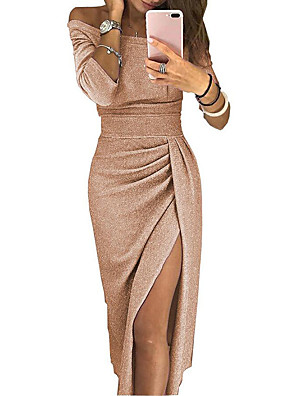 cheap Mother of the Bride Dresses-Women's Bodycon Midi Dress - Long Sleeve Solid Color Pleated Patchwork Asymmetric Spring & Summer Off Shoulder Sexy Cocktail Party New Year Going out Off Shoulder Black Red Blushing Pink Gold Green