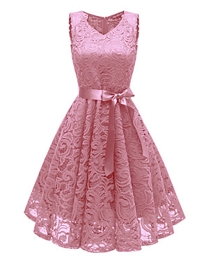 cheap Cocktail Dresses-A-Line Elegant Minimalist Party Wear Cocktail Party Dress V Neck Sleeveless Short / Mini Lace with Bow(s) Pleats 2020