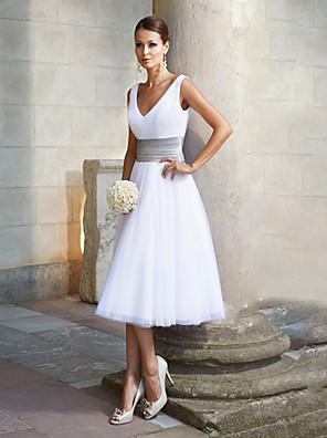 cheap Cocktail Dresses-A-Line Minimalist White Engagement Cocktail Party Dress V Neck Sleeveless Tea Length Chiffon with Pleats 2020