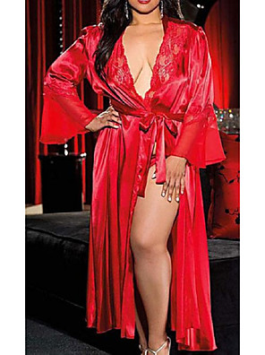 cheap Suits-Women's Lace / Long Plus Size Sexy Robes / Satin & Silk Nightwear Solid Colored White Black Red XL XXL XXXL / Deep V