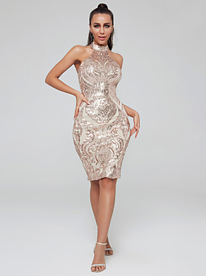 cheap Special Occasion Dresses-Sheath / Column Sparkle Gold Cocktail Party Nightclub Dress High Neck Sleeveless Knee Length Sequined with Sequin 2020