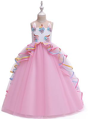 povoljno Najprodavanije-Djeca Djevojčice Vintage slatko Unicorn Color block Više slojeva Kolaž Bez rukávů Maxi Haljina Blushing Pink