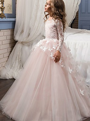 cheap Flower Girl Dresses-Ball Gown Sweep / Brush Train Party / First Communion / Birthday Flower Girl Dresses - Lace Long Sleeve Jewel Neck with Bow(s) / Appliques