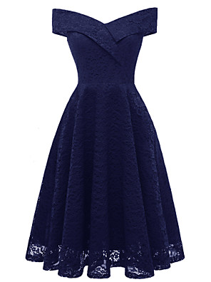 cheap Evening Dresses-A-Line Hot Blue Holiday Cocktail Party Dress Off Shoulder Short Sleeve Knee Length Lace with Pleats Lace Insert 2020