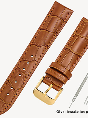 cheap Leather Watch Bands-Genuine Leather / Leather / Calf Hair Watch Band Black / Brown 17cm / 6.69 Inches / 18cm / 7 Inches / 19cm / 7.48 Inches 1.2cm / 0.47 Inches / 1.4cm / 0.55 Inches / 1.6cm / 0.6 Inches