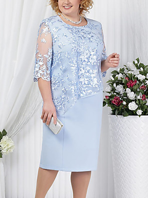 cheap Cocktail Dresses-Women's Plus Size Sheath Dress - Half Sleeve Solid Colored Lace Formal Style Summer Spring & Summer For Mother / Mom Cocktail Party Going out 2020 Red Royal Blue Light Blue S M L XL XXL XXXL XXXXL