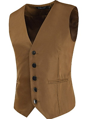 cheap Shirts-Men's Plus Size Vest, Solid Colored Stand Polyester Black / Brown / Navy Blue / Skinny