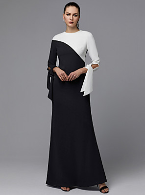 cheap Evening Dresses-A-Line Minimalist Prom Dress Jewel Neck Long Sleeve Floor Length Chiffon with Bow(s) 2020