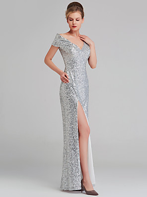 cheap Evening Dresses-Sheath / Column Sparkle White Wedding Guest Formal Evening Dress V Neck Sleeveless Floor Length Sequined with Sequin Split 2020