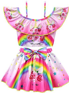 cheap Girls' Dresses-Kids Toddler Girls' Active Cute Unicorn Floral Print Bow Short Sleeves Swimwear Purple