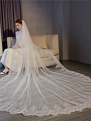 cheap Wedding Veils-One-tier Lace Applique Edge / Elegant & Luxurious Wedding Veil Cathedral Veils with Sequin / Appliques 118.11 in (300cm) Lace / Tulle / Oval