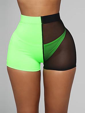 cheap Leggings-Women's Sexy Shorts Pants - Patchwork Mesh High Waist Red Orange Light Green S / M / L