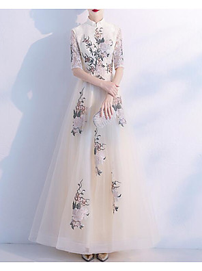 cheap Prom Dresses-A-Line Chinese Style White Engagement Formal Evening Dress High Neck Half Sleeve Floor Length Lace Tulle with Embroidery Appliques 2020