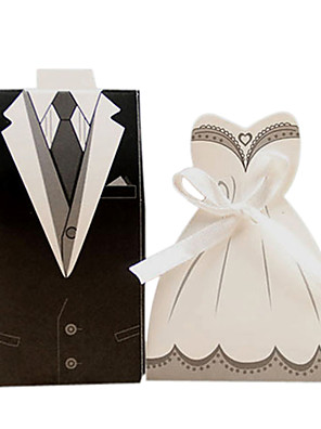cheap Bridesmaid Dresses-irregular Pearl Paper Favor Holder with Ribbons Favor Boxes / Cupcake Wrapper and Boxes / Gift Boxes - 50 pcs