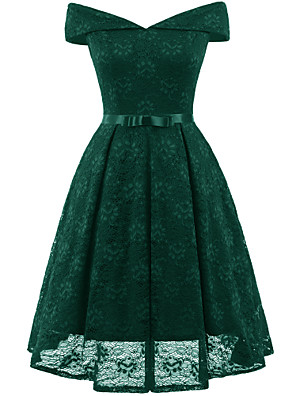 cheap Prom Dresses-A-Line Hot Green Wedding Guest Cocktail Party Dress Off Shoulder Short Sleeve Short / Mini Lace with Bow(s) Pleats 2020