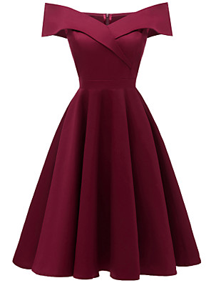 cheap Cocktail Dresses-A-Line Hot Red Homecoming Cocktail Party Dress Off Shoulder Short Sleeve Knee Length Stretch Satin Cotton with Pleats 2020