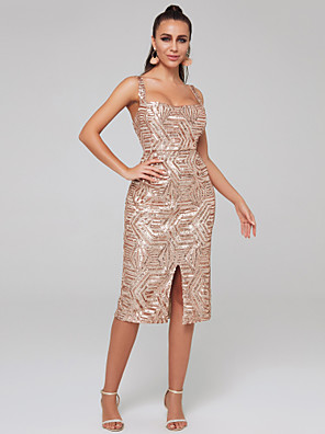 cheap Prom Dresses-Sheath / Column Sparkle Pink Wedding Guest Cocktail Party Dress Scoop Neck Sleeveless Knee Length Sequined with Sequin Split 2020