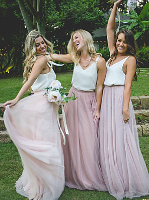 cheap Bridesmaid Dresses-A-Line Plunging Neck Sweep / Brush Train Chiffon / Tulle Bridesmaid Dress with Sash / Ribbon