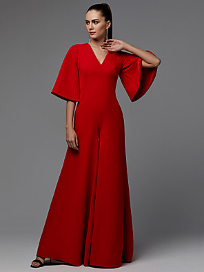 cheap Evening Dresses-Jumpsuits Minimalist Red Engagement Formal Evening Dress V Neck Half Sleeve Floor Length Satin with Pleats 2020