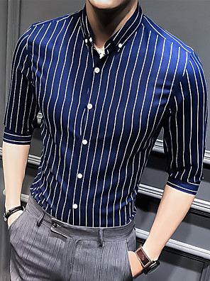 cheap Shirts-Men's Striped Shirt Basic Wedding Party White / Black / Blue / Red / Navy Blue / Light Blue