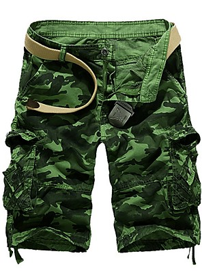 cheap Men's Pants & Shorts-Men's Basic Slim Shorts Bermuda shorts Pants - Patterned Blue Army Green Fuchsia M / L / XL