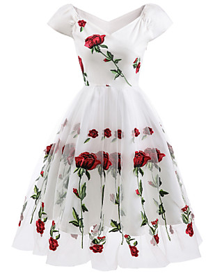 cheap Homecoming Dresses-A-Line Floral White Holiday Cocktail Party Dress Off Shoulder Short Sleeve Knee Length Organza Stretch Satin with Embroidery Appliques 2020