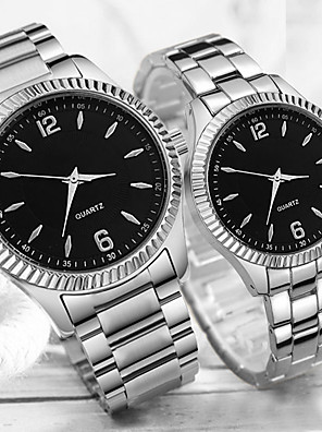 cheap Quartz Watches-Couple's Steel Band Watches Quartz Stainless Steel Silver 30 m Water Resistant / Waterproof Creative Casual Watch Analog Classic Fashion - White Black One Year Battery Life