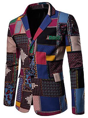cheap Shirts-Men's Notch lapel collar Blazer Geometric Rainbow Plus Size Linen Rainbow M / L / XL