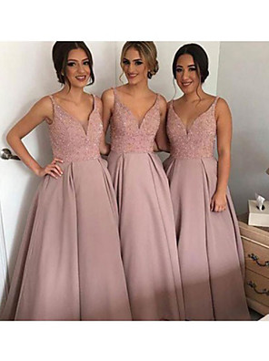 cheap Bridesmaid Dresses-Plunging Neck Satin Bridesmaid Dress with Appliques by JUDY&JULIA