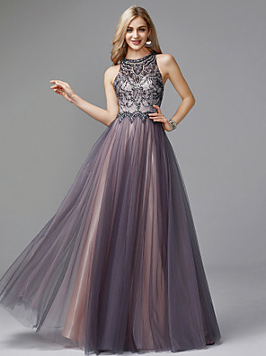 cheap Evening Dresses-A-Line Luxurious Grey Prom Formal Evening Dress Halter Neck Sleeveless Floor Length Tulle with Crystals Beading 2020
