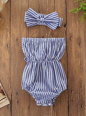 cheap Baby Girls' One-Piece-Baby Girls' Active / Basic Striped Bow Sleeveless Cotton Bodysuit Blue / Toddler