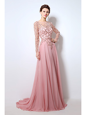 cheap Prom Dresses-A-Line Beautiful Back Formal Evening Dress Jewel Neck Long Sleeve Sweep / Brush Train Chiffon with Pearls Beading 2020 / Illusion Sleeve