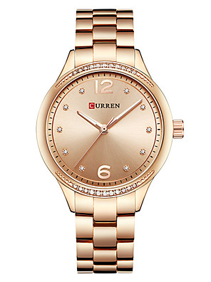 cheap Quartz Watches-CURREN Women's Dress Watch Bracelet Watch Gold Watch Quartz Ladies Water Resistant / Waterproof Silver / Gold Analog - White / Gold Gold Silver / Calendar / date / day / Large Dial