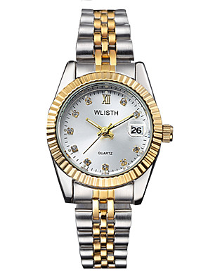 cheap Quartz Watches-Women's Quartz Watches Luxury Fashion Silver Gold Stainless Steel Quartz Golden+Black Golden+White Gold Calendar / date / day Luminous 30 m 1 pc Analog One Year Battery Life