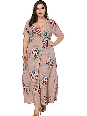 cheap Special Occasion Dresses-A-Line Floral Plus Size Holiday Formal Evening Dress V Neck Short Sleeve Ankle Length Chiffon with Pattern / Print Split Front 2020