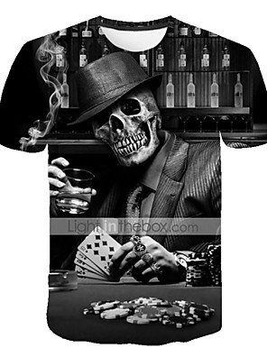 cheap Men's Tees & Tank Tops-Men's Daily Plus Size T-shirt 3D Graphic Skull Print Short Sleeve Tops Exaggerated Round Neck Black / Summer