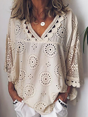 cheap Women's Blouses-Women's Plus Size Solid Colored Lace Loose Shirt Casual / Daily V Neck White / Blue / Purple / Yellow / Blushing Pink / Beige