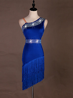 cheap Cocktail Dresses-Latin Dance Dress Tassel Crystals / Rhinestones Women's Training Performance Sleeveless High Spandex