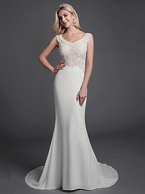 cheap Wedding Dresses-Mermaid / Trumpet Wedding Dresses Scoop Neck Sweep / Brush Train Chiffon Lace Sleeveless with Lace Beading 2020