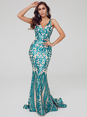 cheap Evening Dresses-Mermaid / Trumpet Sparkle Turquoise / Teal Engagement Formal Evening Dress V Neck Sleeveless Sweep / Brush Train Sequined with Sequin Pattern / Print 2020