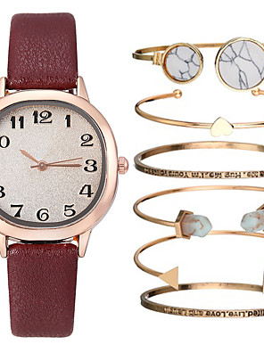 cheap Quartz Watches-Women's Quartz Watches Quartz Gift Set Elegant Chronograph PU Leather Black / Blue / Red Analog - Black Blue Red One Year Battery Life