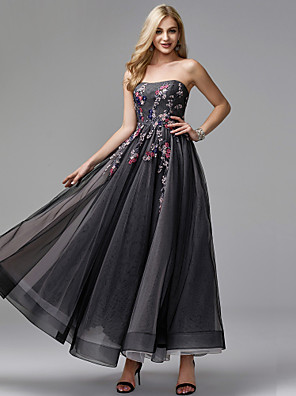 cheap Prom Dresses-Ball Gown Elegant Floral Prom Formal Evening Dress Strapless Sleeveless Ankle Length Tulle with Appliques 2020