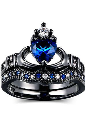 cheap Evening Dresses-Women's Ring Cubic Zirconia 2pcs Blue Alloy Circular Trendy Elegant Wedding Jewelry Heart Cute